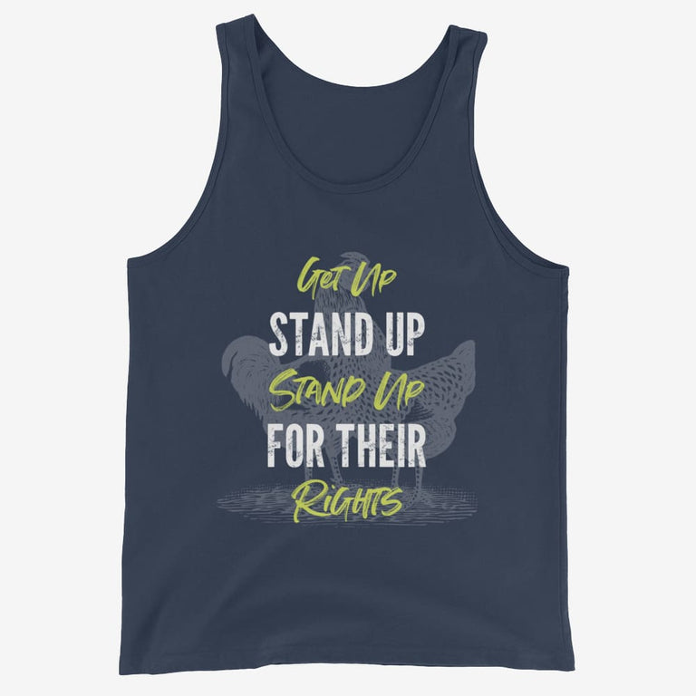 Mens Get Up Stand Up Tank Top - Navy / Xs