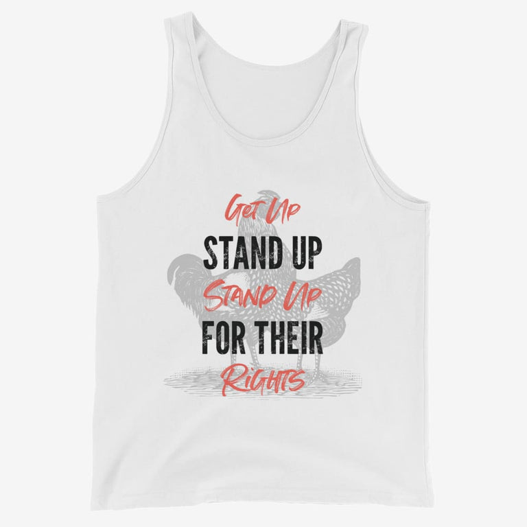 Mens Get Up Stand Up Tank Top - White / Xs