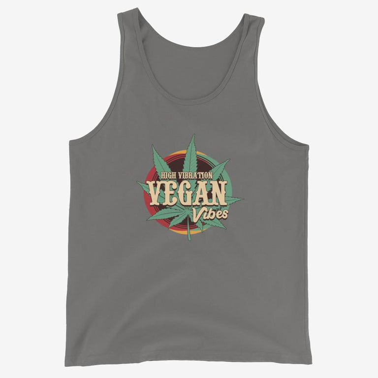 Mens High Vibration Vegan Vibes Tank Top - Asphalt / Xs