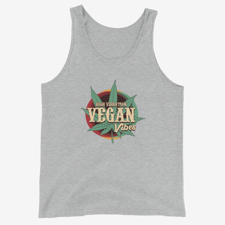 Mens High Vibration Vegan Vibes Tank Top - Athletic Heather / Xs