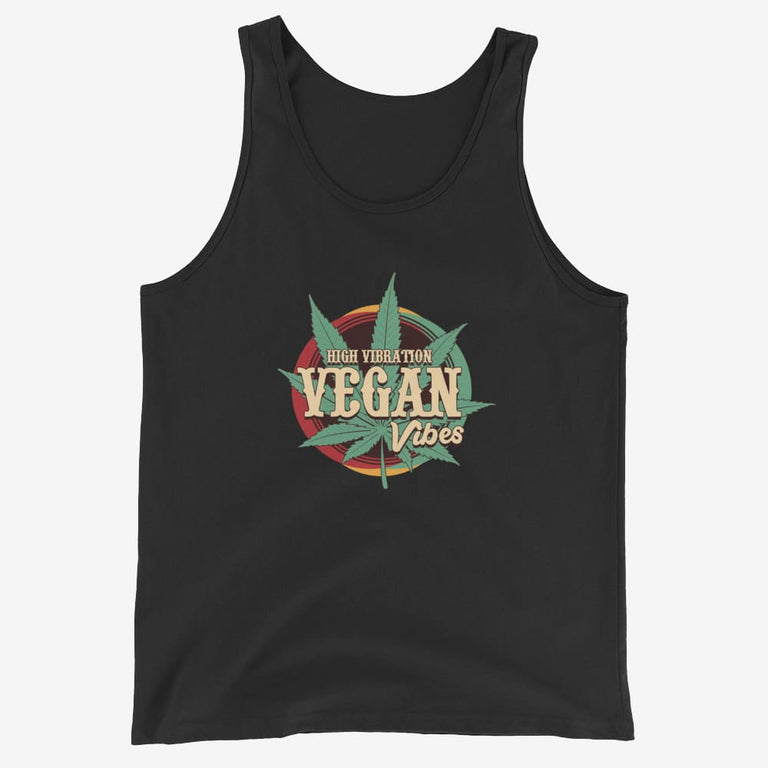 Mens High Vibration Vegan Vibes Tank Top - Black / Xs