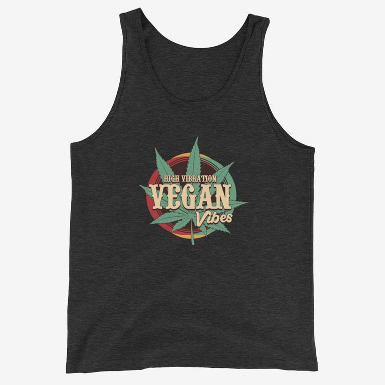 Mens High Vibration Vegan Vibes Tank Top - Charcoal-Black Triblend / Xs