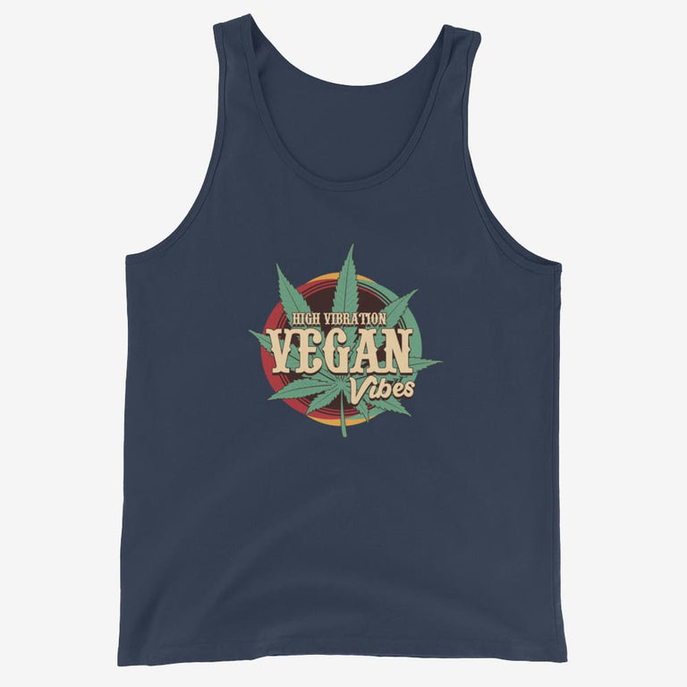 Mens High Vibration Vegan Vibes Tank Top - Navy / Xs