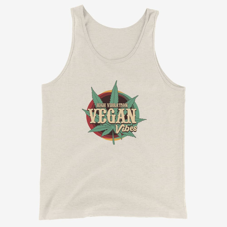 Mens High Vibration Vegan Vibes Tank Top - Oatmeal Triblend / Xs