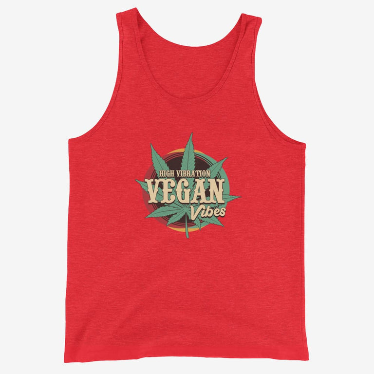 Mens High Vibration Vegan Vibes Tank Top - Red Triblend / Xs