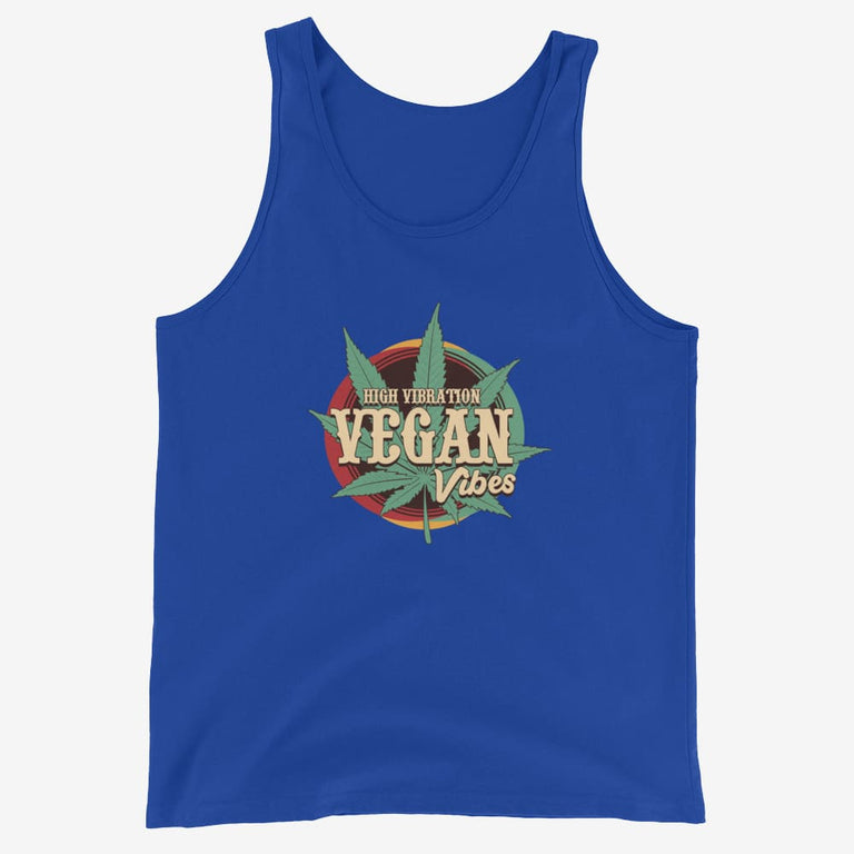 Mens High Vibration Vegan Vibes Tank Top - True Royal / Xs