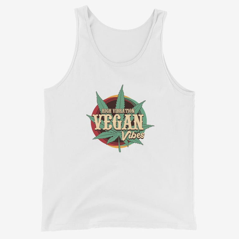 Mens High Vibration Vegan Vibes Tank Top - White / Xs
