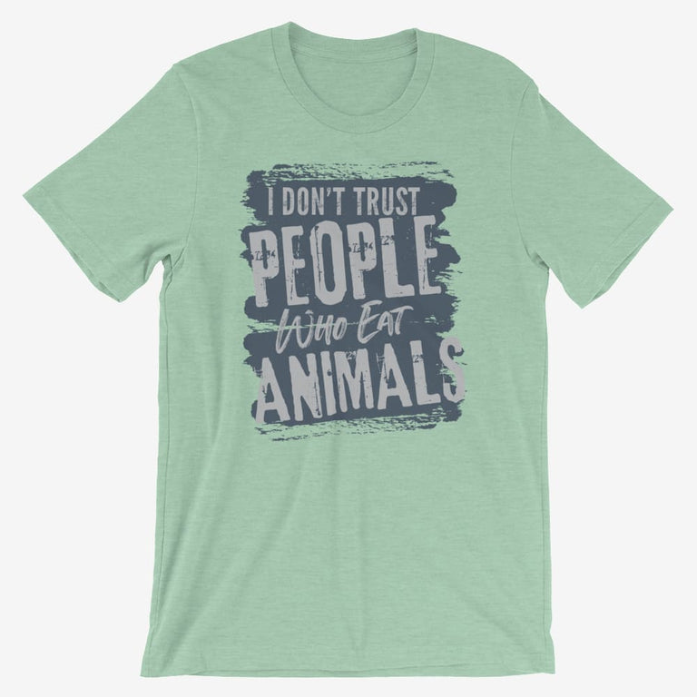 Mens I Dont Trust People Who Eat Animals Short-Sleeve T-Shirt - Heather Prism Mint / S