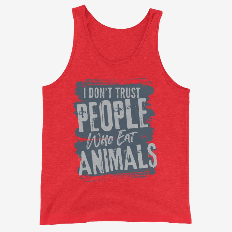 Mens I Dont Trust People Who Eat Animals Tank Top - Red Triblend / Xs