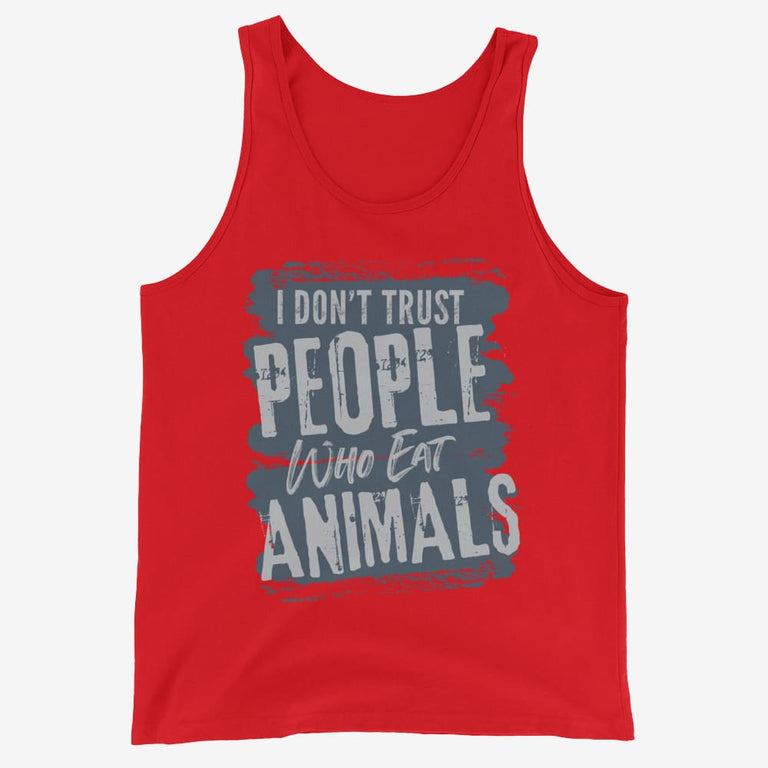 Mens I Dont Trust People Who Eat Animals Tank Top - Red / Xs
