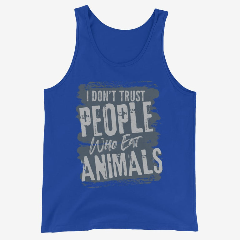 Mens I Dont Trust People Who Eat Animals Tank Top - True Royal / Xs