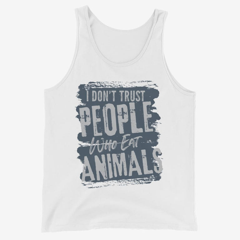 Mens I Dont Trust People Who Eat Animals Tank Top - White / Xs