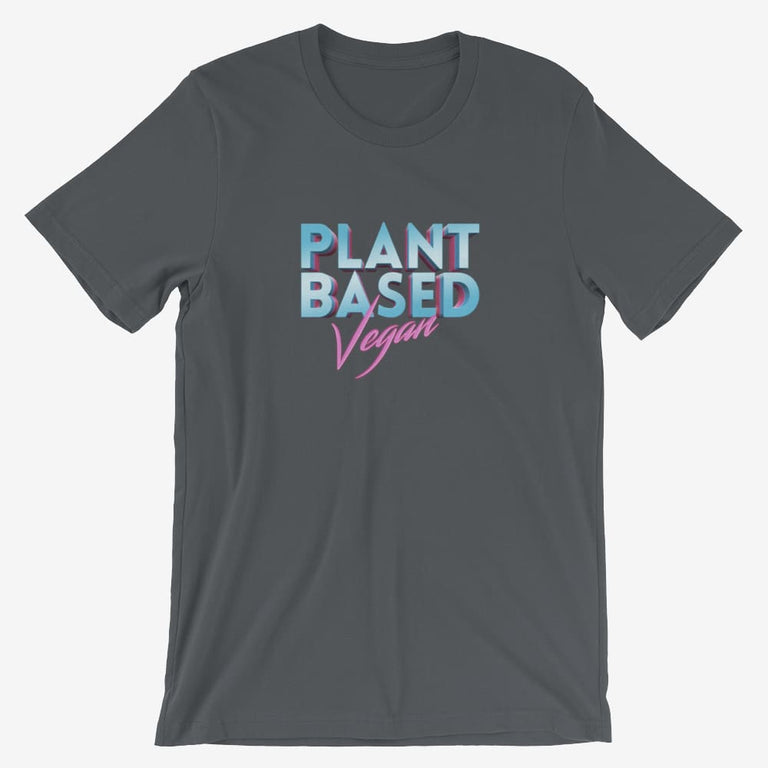 Mens Retro Plant Based Vegan Short-Sleeve T-Shirt - Asphalt / S
