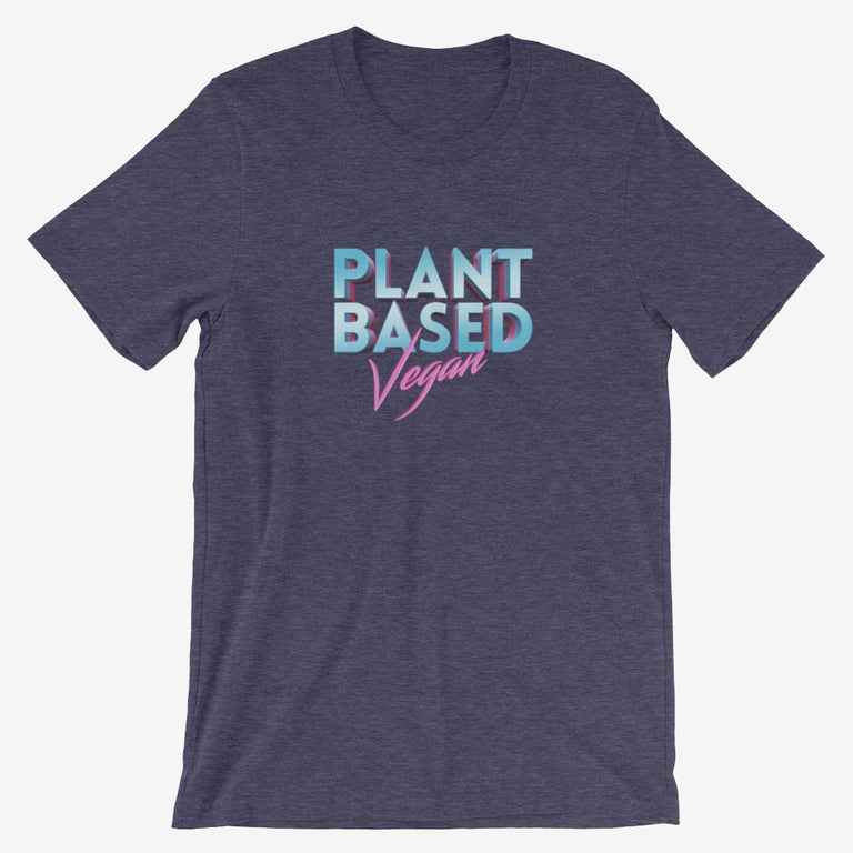 Mens Retro Plant Based Vegan Short-Sleeve T-Shirt - Heather Midnight Navy / S