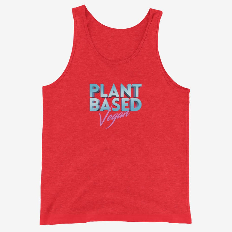 Mens Retro Plant Based Vegan Tank Top - Red Triblend / Xs