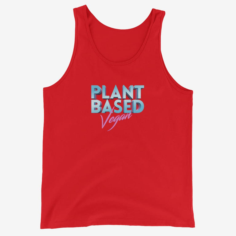 Mens Retro Plant Based Vegan Tank Top - Red / Xs