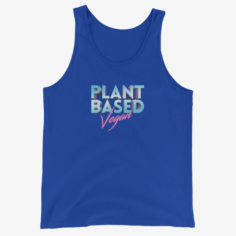Mens Retro Plant Based Vegan Tank Top - True Royal / Xs