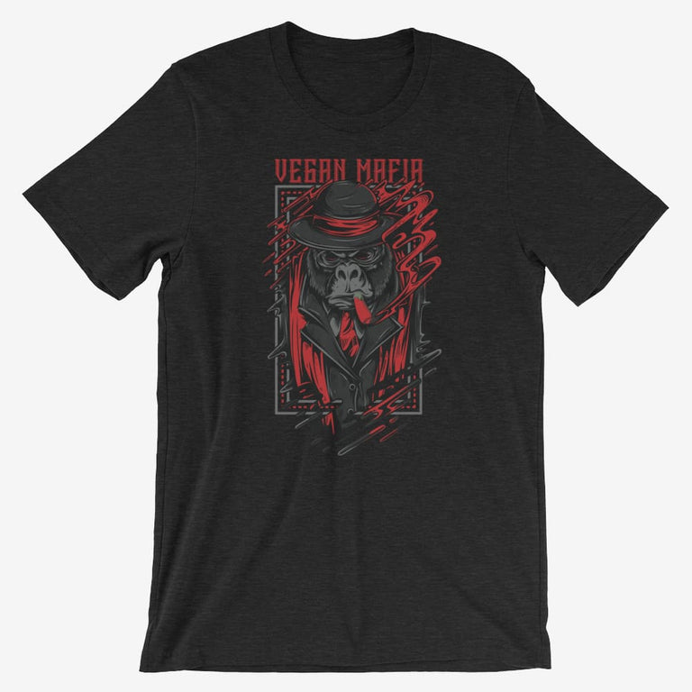 Mens Vegan Mafia Short-Sleeve T-Shirt - Black Heather / S