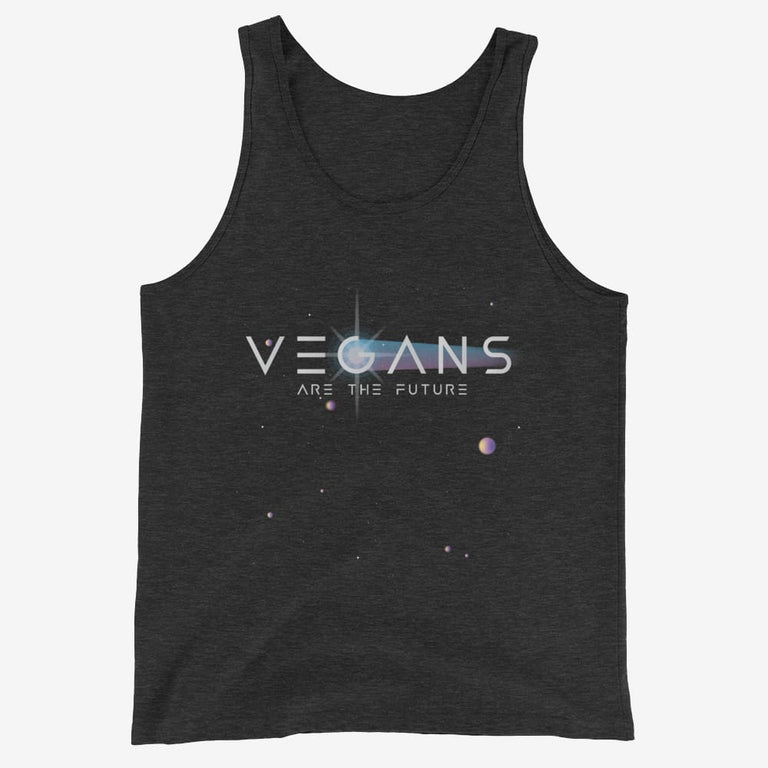 Mens Vegans Are The Future Tank Top - Charcoal-Black Triblend / Xs