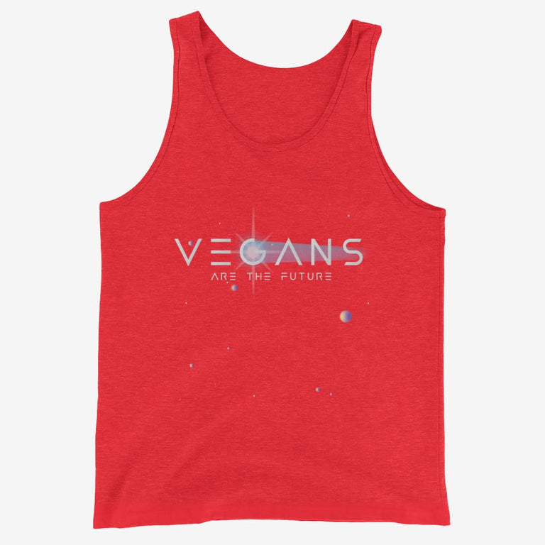 Mens Vegans Are The Future Tank Top - Red Triblend / Xs