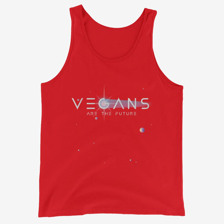 Mens Vegans Are The Future Tank Top - Red / Xs