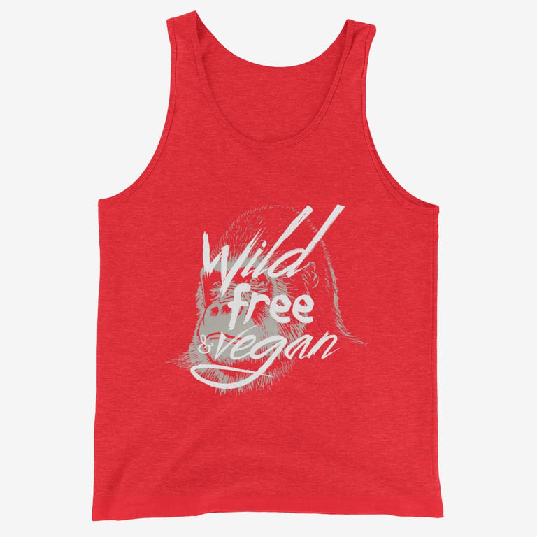 Mens Wild Free & Vegan Tank Top - Red Triblend / Xs