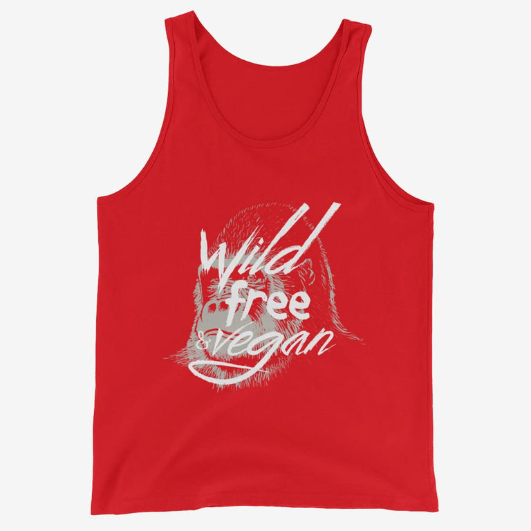 Mens Wild Free & Vegan Tank Top - Red / Xs