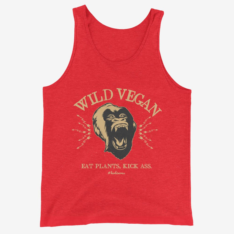 Mens Wild Vegan Tank Top - Red Triblend / Xs