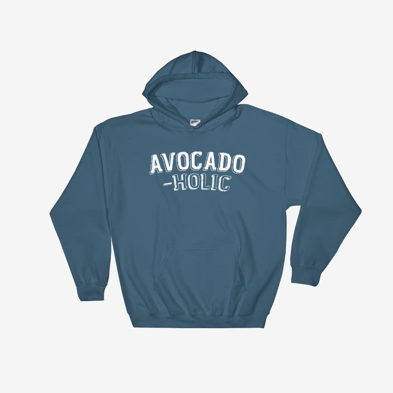 Unisex Avocado-Holic Hooded Sweatshirt - Indigo Blue / S