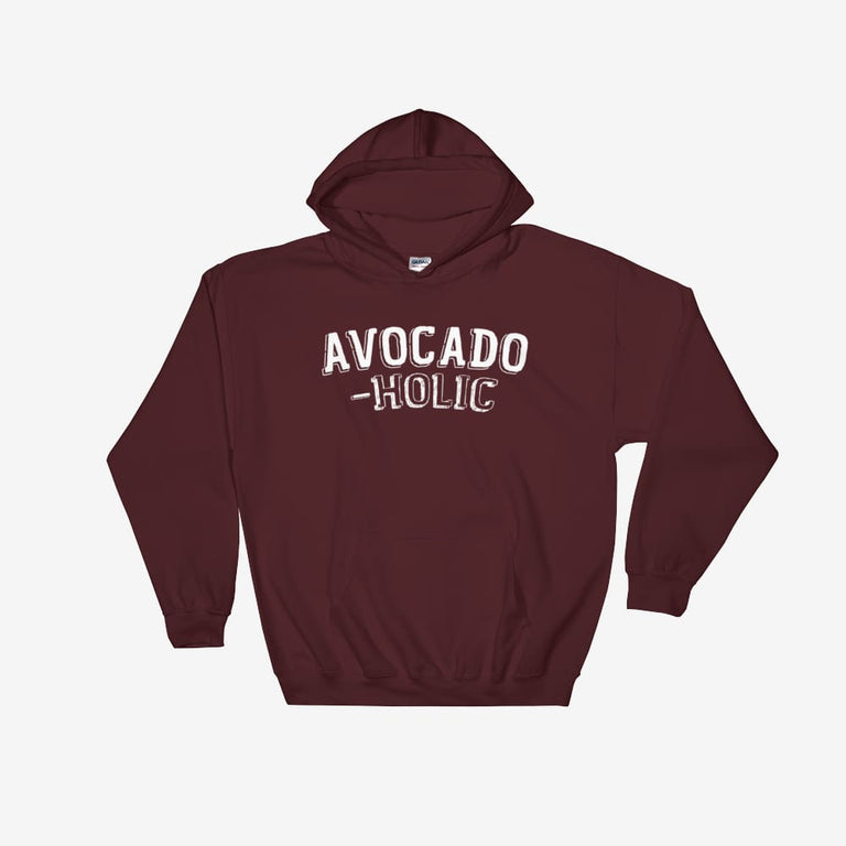 Unisex Avocado-Holic Hooded Sweatshirt - Maroon / S