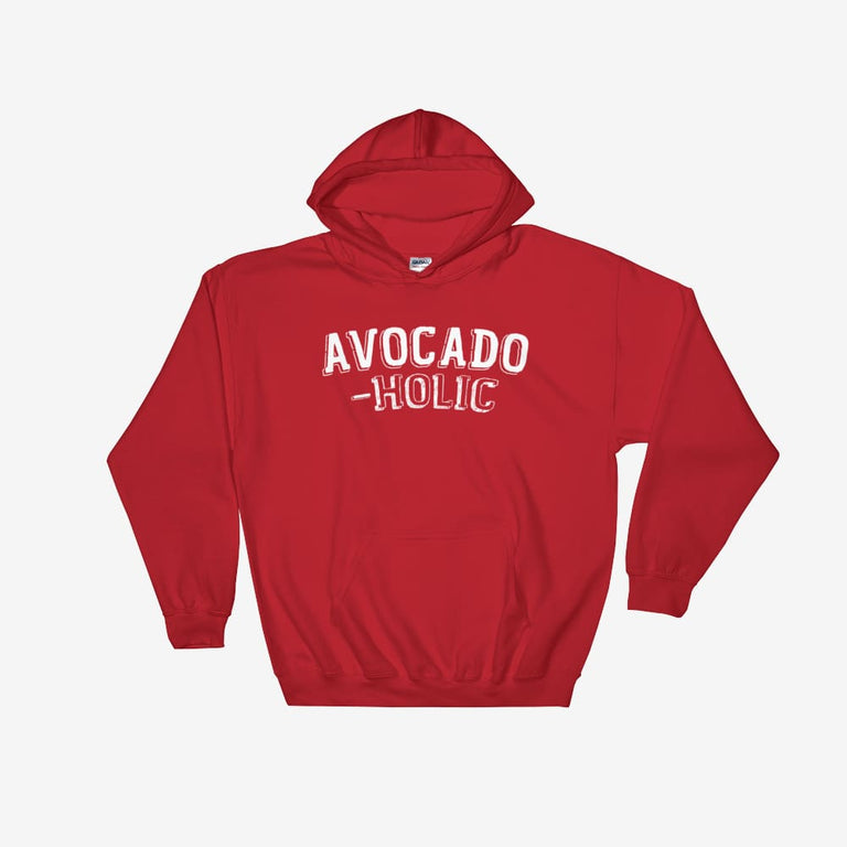 Unisex Avocado-Holic Hooded Sweatshirt - Red / S