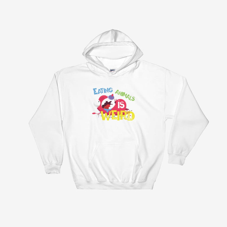 Unisex Eating Animals Is Weird Hooded Sweatshirt - White / S
