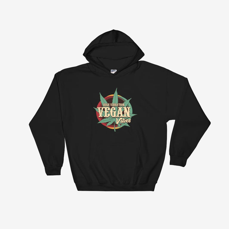 Unisex High Vibration Vegan Vibes Hooded Sweatshirt - Black / S