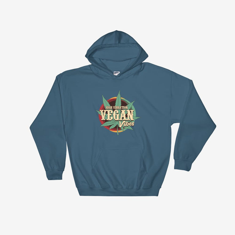 Unisex High Vibration Vegan Vibes Hooded Sweatshirt - Indigo Blue / S