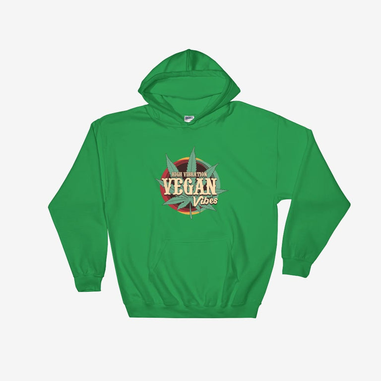 Unisex High Vibration Vegan Vibes Hooded Sweatshirt - Irish Green / S