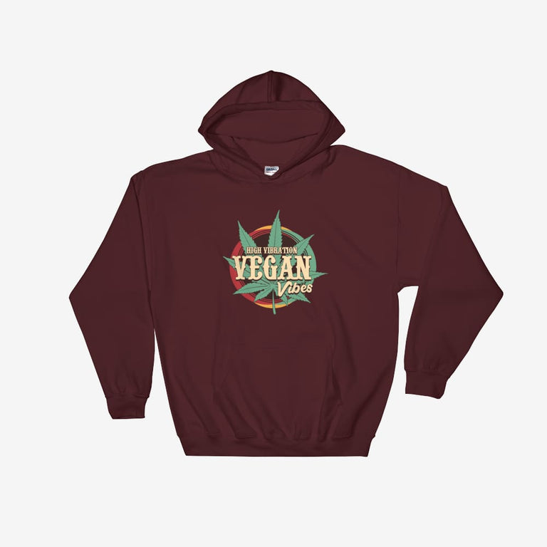 Unisex High Vibration Vegan Vibes Hooded Sweatshirt - Maroon / S