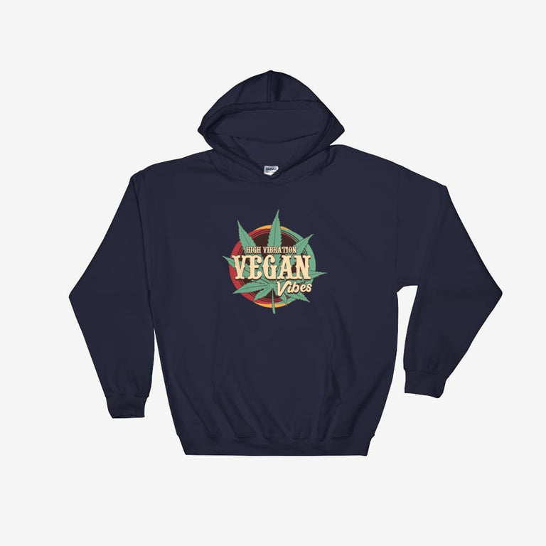 Unisex High Vibration Vegan Vibes Hooded Sweatshirt - Navy / S