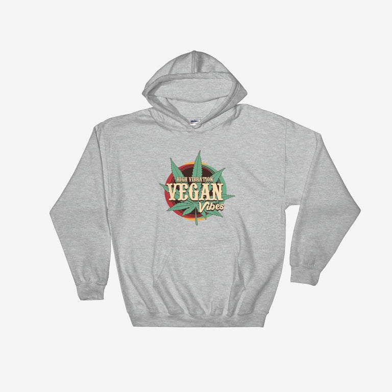 Unisex High Vibration Vegan Vibes Hooded Sweatshirt - Sport Grey / S