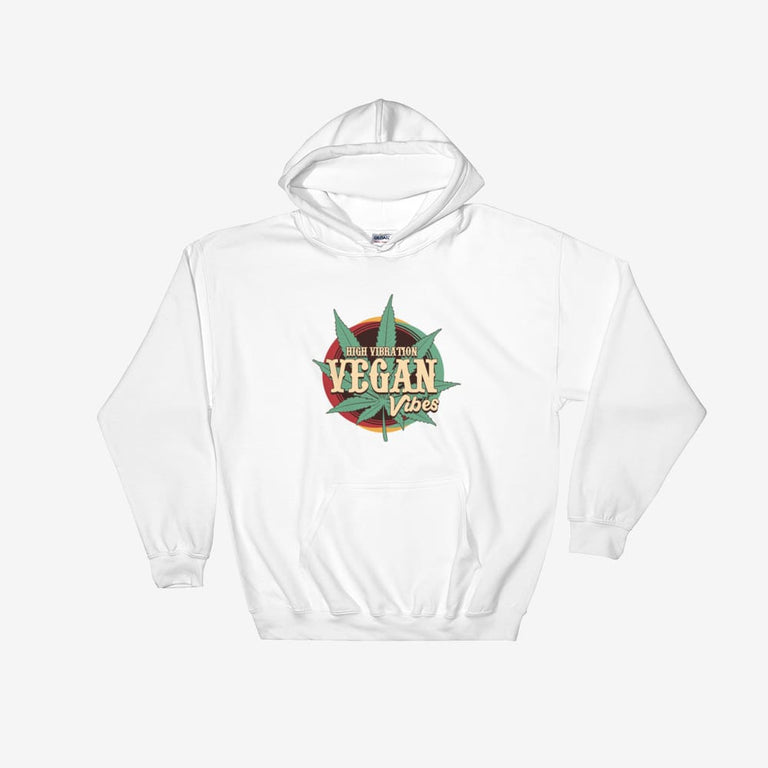 Unisex High Vibration Vegan Vibes Hooded Sweatshirt - White / S