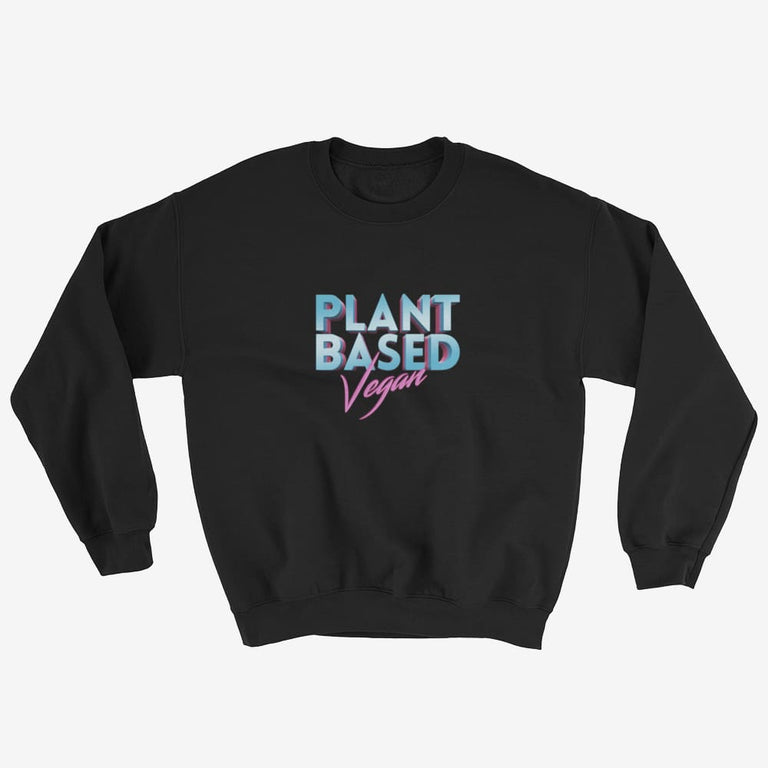 Unisex Retro Plant Based Vegan Sweatshirt - Black / S