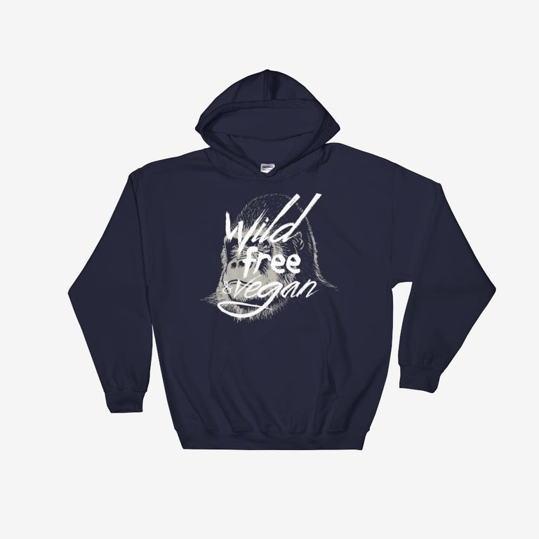 Unisex Wild Free & Vegan Hooded Sweatshirt - Navy / S