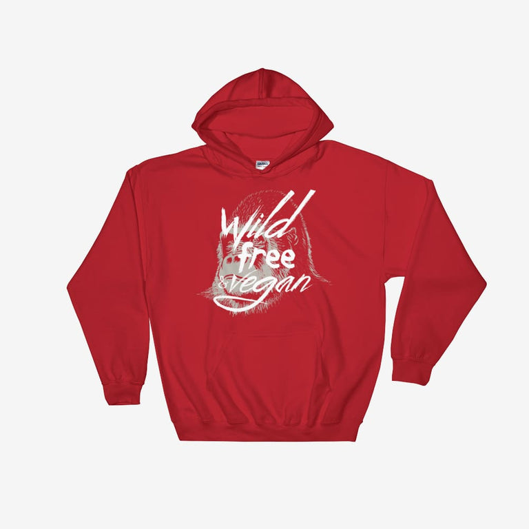 Unisex Wild Free & Vegan Hooded Sweatshirt - Red / S