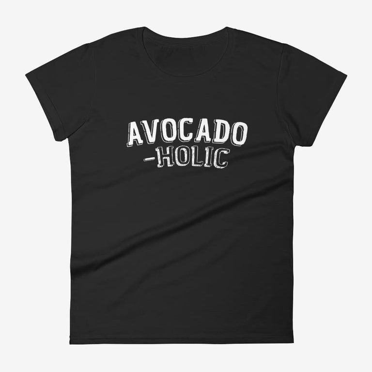 Womens Avocado-Holic Short Sleeve T-Shirt - Black / S
