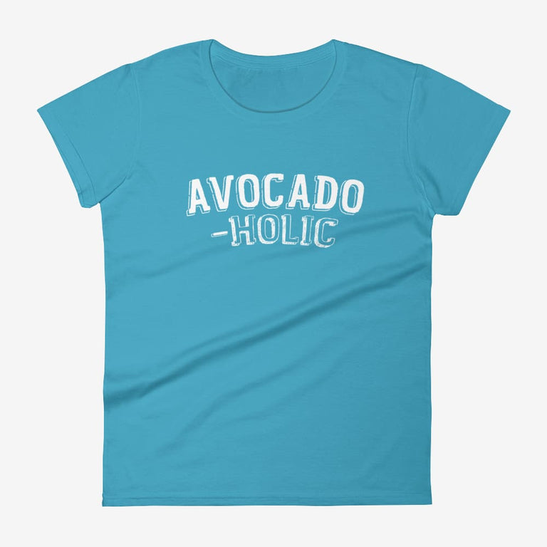 Womens Avocado-Holic Short Sleeve T-Shirt - Caribbean Blue / S