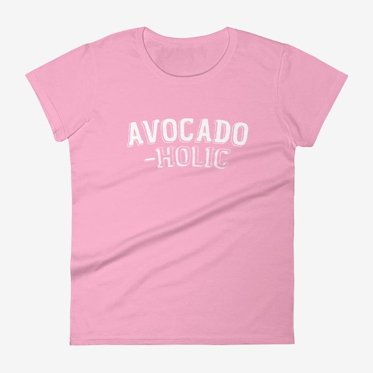 Womens Avocado-Holic Short Sleeve T-Shirt - Charitypink / S