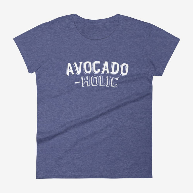 Womens Avocado-Holic Short Sleeve T-Shirt - Heather Blue / S