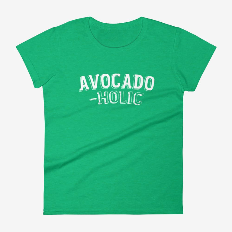 Womens Avocado-Holic Short Sleeve T-Shirt - Heather Green / S