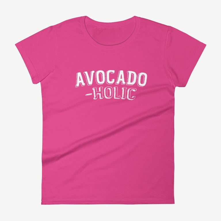 Womens Avocado-Holic Short Sleeve T-Shirt - Hot Pink / S