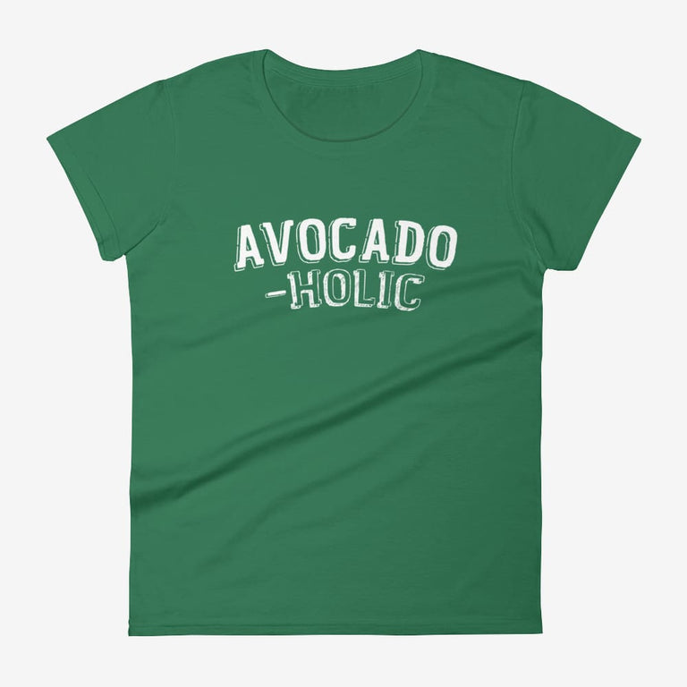 Womens Avocado-Holic Short Sleeve T-Shirt - Kelly Green / S
