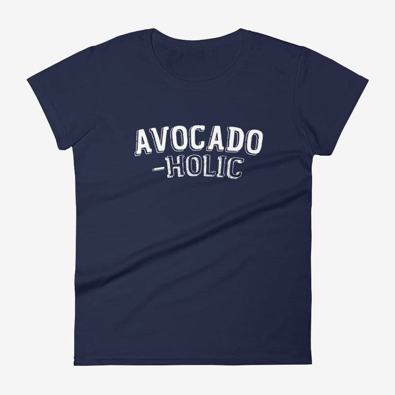 Womens Avocado-Holic Short Sleeve T-Shirt - Navy / S